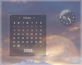 Dark Glass Clock/Calendar