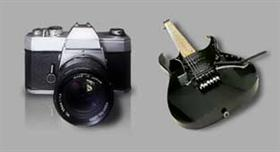 slr camera and ibanez guitar