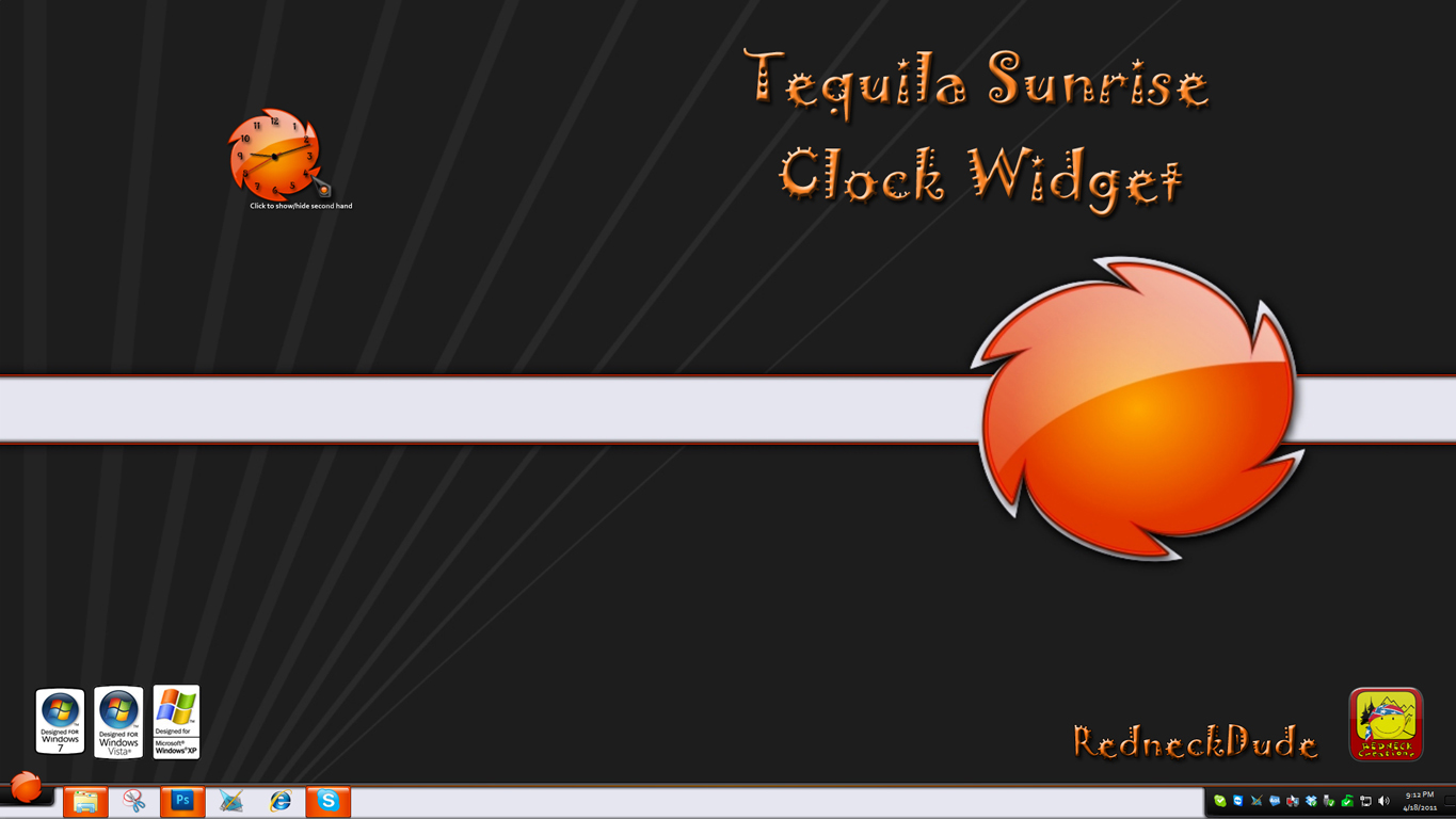 Tequila Sunrise Clock Widget